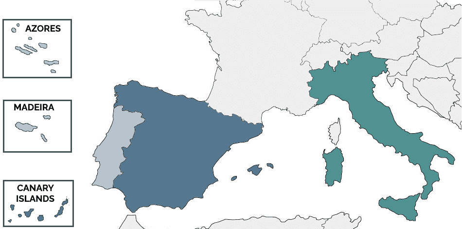 Map of Spain, Portugal and Italy, including the islands