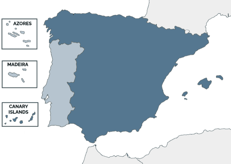 Map of Spain, Portugal, and the islands