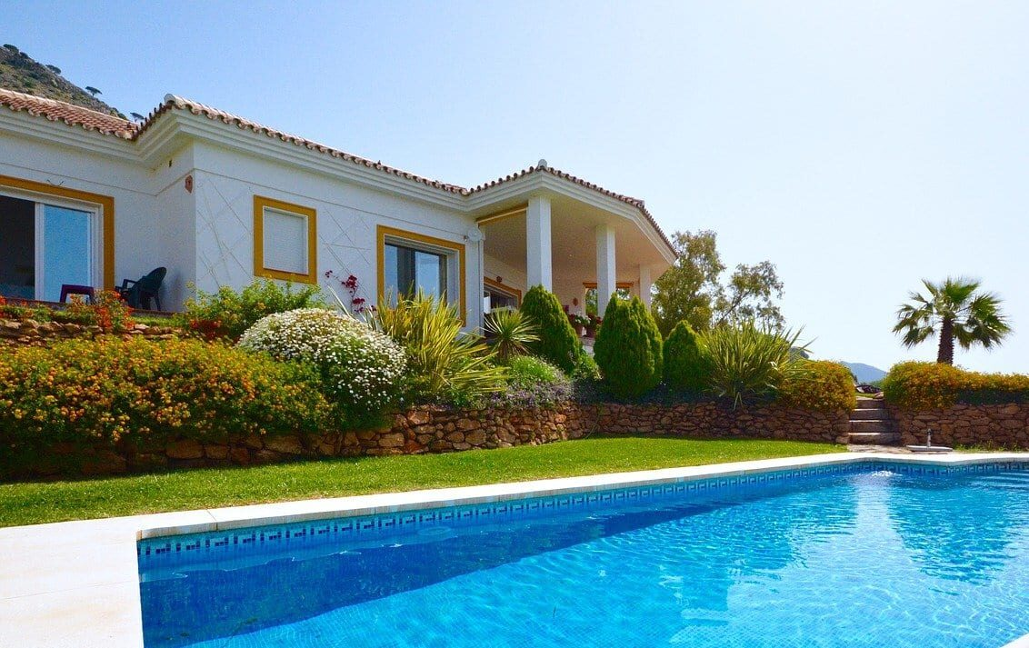 Close up of villa with swimming pool